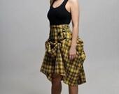 Steampunk Inspired Yellow Black High Waist Plaid Bondage Skirt