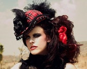 SteamPunk Red   Plaid Riding Hat detailed beaded trim and feathers