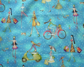 Cotton Fabric Fashionista in Blue Polka Dot 1 yard
