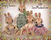 Primitive E-PATTERN Boy and Girl Bunny Rabbit Dolls