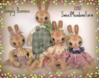 Primitive E-PATTERN Boy and Girl Bunny Rabbit Dolls