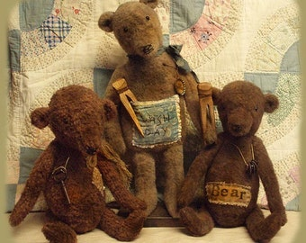 E-PATTERN Primitive Doll PATTERN Grungy Bears Standing or Sitting