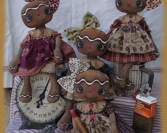 PDF Primitive E-PATTERN Gingerbread Cookie Folkart Dolls