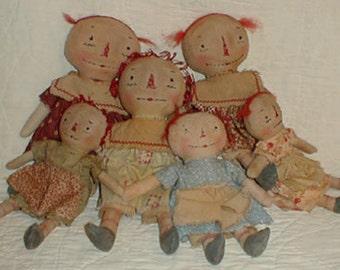 Primitive E-PATTERN  PDF Old and Worn Ann Dollies Raggedy Doll 2 sizes