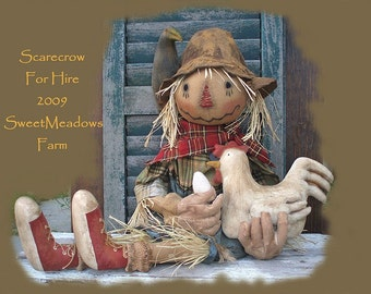 PDF Primitive Grungy Scarecrow and Chicken Doll w/ Sneakers E-PATTERN
