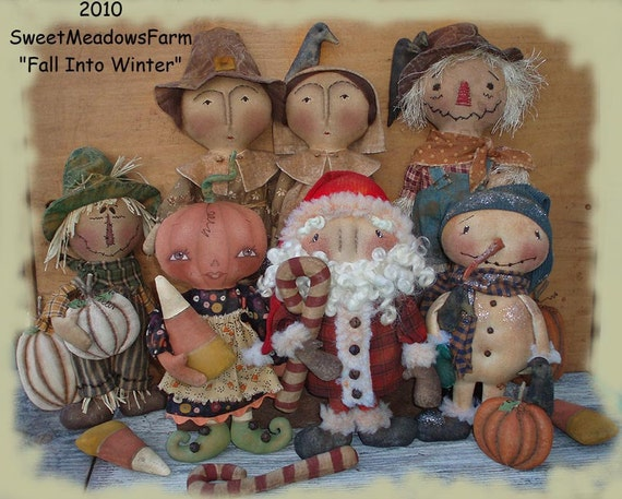 Primitive BIG E-PATTERN Pilgrims, Scarecrows, Santa, Snowman, Pumpkin Girl, Ornies