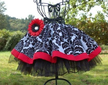 Absolutely Adorable Twirly skirt for your little princess Michael Miller Damask print. s. 12 m, 2T, 3T, 4, 5, 6, 7, 8, 9, 10, 11, 12 , XS,