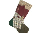 Upcycled Suit Coat Christmas Stocking - No.510 Small