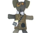 Wendy - The Mutts of Tweedville - stuffed animal dog made from upcycled suit coats