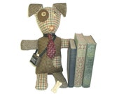 Griffin - The Mutts of Tweedville - stuffed animal dog made from upcycled suit coats