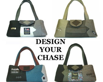 Chase - Made To Order - Your choice of colors - recycled suit coats handbag