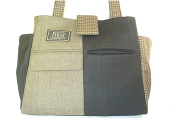 Recycled men's suit coats tote - Jacob -  No. 7111