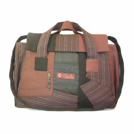 Satchel / school bag crafted from recycled suit coats - Sir Franklin satchel No.3210