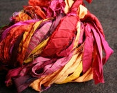 recycled silk ribbon - 80grm - pinks, deep reds and oranges