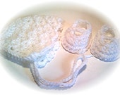 White Vintage Style Bonnet and Matching Bootie Set - REBORN PREEMIE - Crocheted - 16 Colors to Choose From - Flat 1.99 S/H