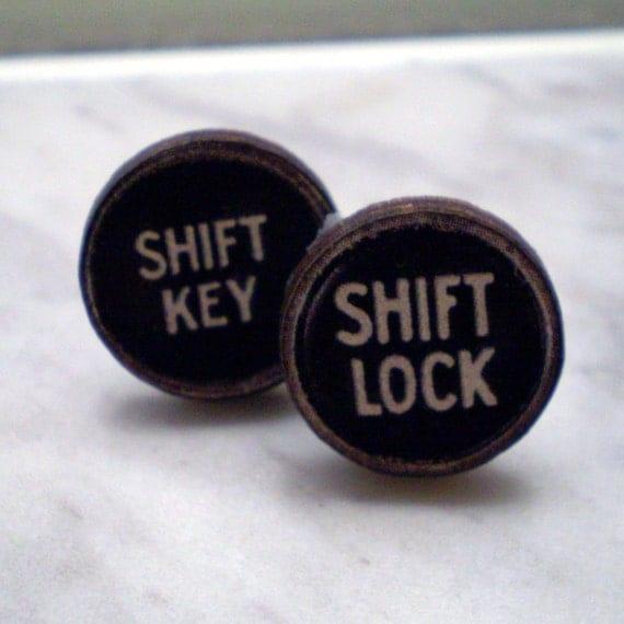 Shifty- Typewriter Key Stud Earrings LAST PAIR
