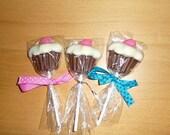 1 Dozen Chocolate Cupcake Lollipops - make excellent favors