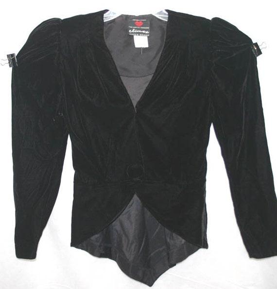 Vintage David Howard Karen Okada Black Velvet Bolero Jacket