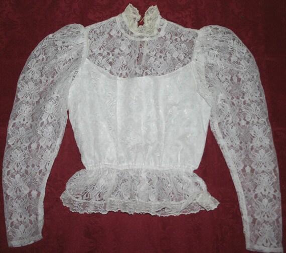 Vintage Victorian 80's Romantic White Lace Blouse Small