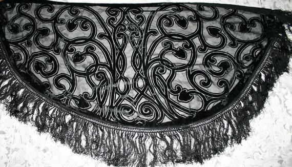 Vintage Black Velvet Flocked 60 Inch Fringed Shawl