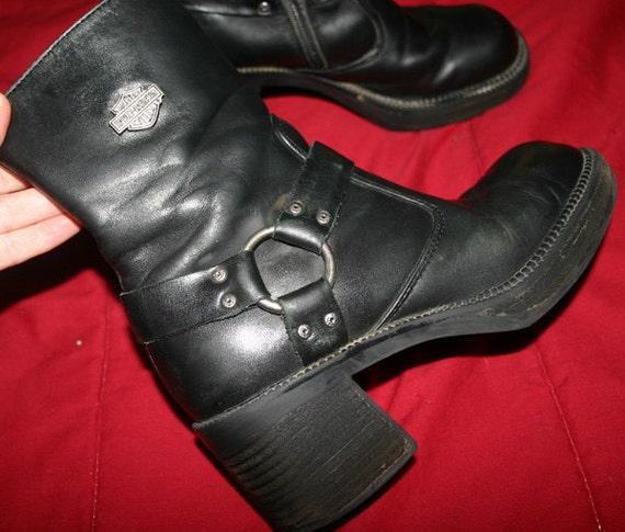 Vintage Ladies Harley Davidson Black Leather Harness Boots 7
