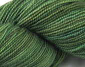 SALE - Superwash Merino Tight Twist Sock Yarn - Finger Painted Greens by Rocket Yarn