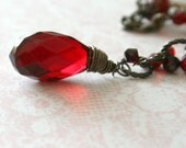 Betony necklace. Gorgeous blood red and filigree y shaped necklace.