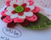 Felt Flower Hair Clip with Hand Stitching