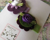 Tiny Felt Flowers -Infant Snap Clips in Purple and Green