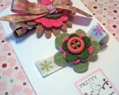 Felt Flower Hair Clip in green, khaki and pink