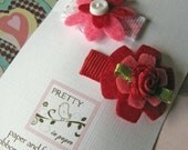 Tiny Felt Flowers -Infant Snap Clips in Pink and Red