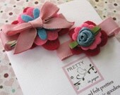 Such a Girly Girl -Felt Flower Hair Clip with Bow