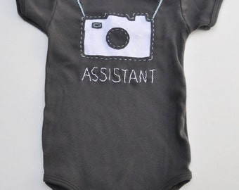 Camera handstitched baby one piece