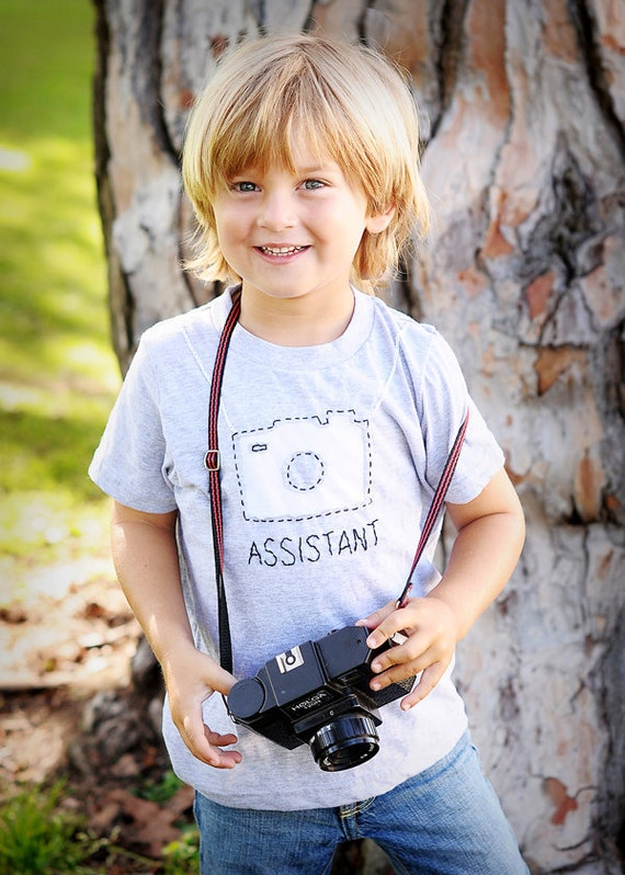 Camera handstitched tee for boys