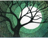 Original art ACEO Winter Tree and Moon Cross Hatched - green