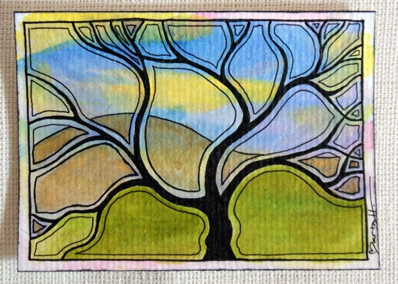 Original art ACEO Shimmering Watercolor Tree and Mountain