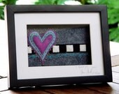 I heart you - framed textile art
