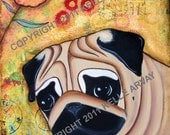 Bloom Fawn Pug Mixed Media Collage Somerset Gilcee Print 8 x 10