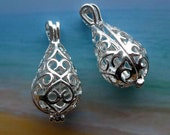 TEARDROP LOCKET  Filigree Drop  with Hearts 2 pieces - Fill with Seaglass or beads