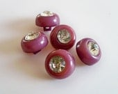 Set of Vintage Purple Buttons with Sparkly Rhinestones