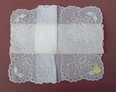 Delicate Vintage Embroidered Hankie - Scalloped Eyelet Edge - Original Label