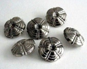 Set of 6 Vintage Silver Colored Metalized Plastic Buttons