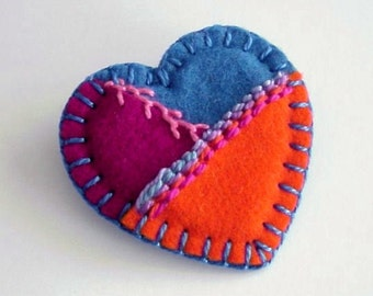 Patchwork Crazy Quilt Heart Pin in Hand Embroidered Felt