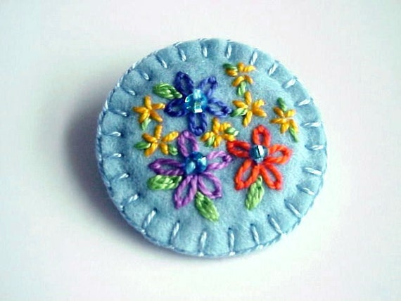 Summer Flower Felt Brooch with Embroidery and Glass Beads