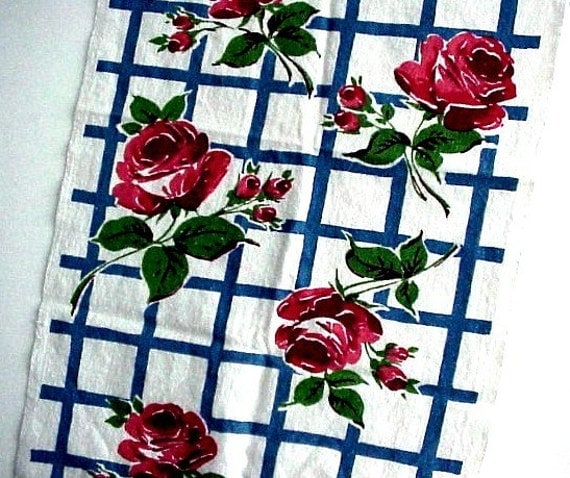 Reduced - Vintage Kitchen Towel - Big Red Roses on Blue and White Background
