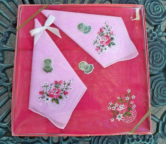 Vintage Handkerchiefs - Floral Embroidery on Pink and Red - Unopened MWT