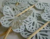 Butterfly Cupcake Toppers - Pale Blue-Gray - Birthday Party Decorations - Set of 12
