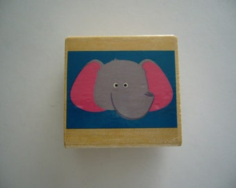 Elephant Rubber Stamp - Zoo Animal - Wood Mounted Rubber Stamp