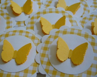 Butterfly Cupcake Toppers - Yellow Gingham - Birthday Party Decorations - Baby Shower Decorations - Set of 12