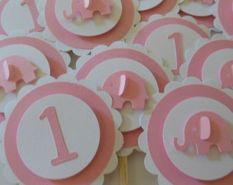 1st Birthday Elephant Cupcake Toppers - Pink and White - Girl Birthday Party Decorations - Set of 12
